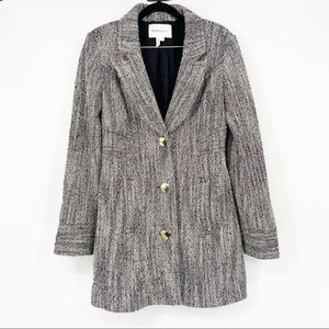 BCBG Black/White Tweed Coat